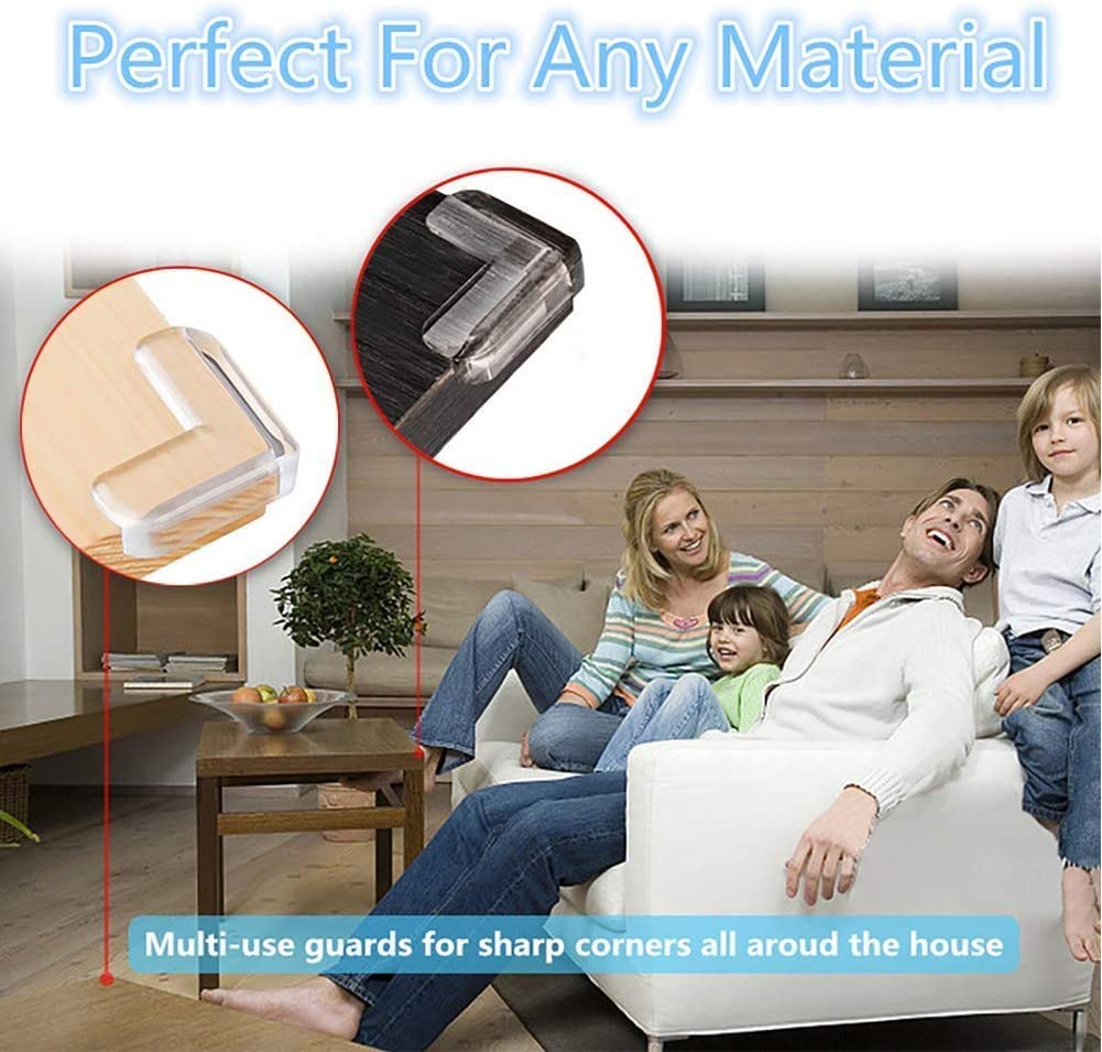 12 Pack Stop Child Head Injuries High Resistant Adhesive Gel Corner Guards Tables Best Baby Proof Corner Guards Clear Corner Protectors Furniture /& Sharp Corners Baby Proofing L-Shaped