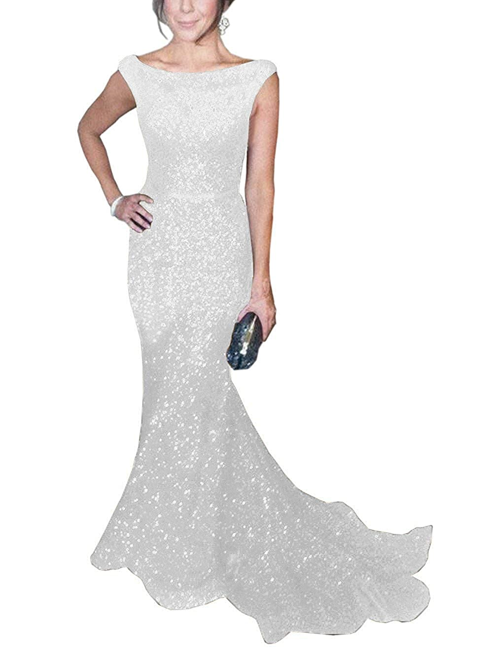 White ToonySume Women's Mermaid Sequined Prom Gown Formal Evening Dress for Wedding