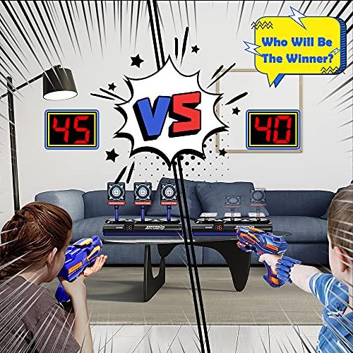 Objetivo de Tiro Electrónico para Nerf, Diana Digital con 1 Pistola, 40 Dardos de Espuma, Rebote Automático, Función de Puntuación, Sonido y Luz, Juego de Disparos Juguetes Regalo Niño de 3-12 Años