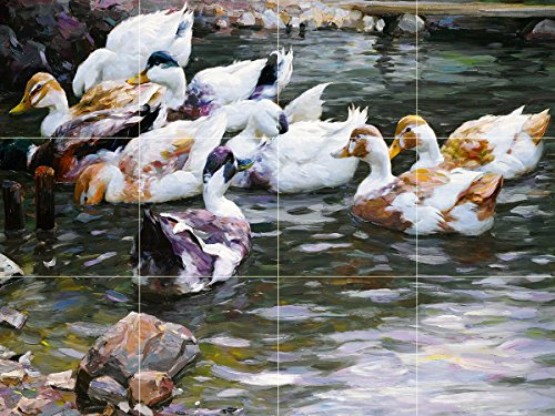 DUCKS ON A POND by Alexander Koester river lake birds landscape Tile Mural Kitchen Bathroom Wall Backsplash Behind Stove Range Sink Splashback 4x3 6'' Ceramic, Glossy by FlekmanArt