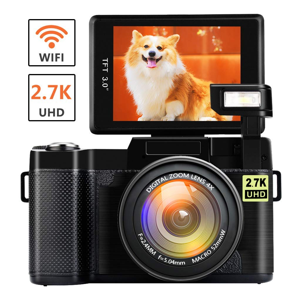 Digital Camera with WiFi 24.0 MP Vlogging Camera 2.7K Ultra HD 3.0 Inch Camera with Flip Screen Retractable Flashlight (Micro sd Card is not Included) (W1) by CEDITA