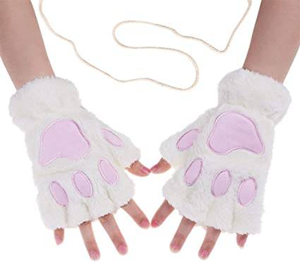 Winter Women Plush Cat Paw Claw Short Half Finger Gloves Cover Mittens