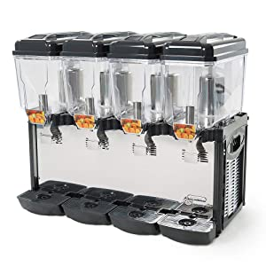 Eurodib CD4J Cofrimell (4) 3-Gallon Refrigerated Pre-Mix Drink Dispensers, 110/120v, NSF, Silver