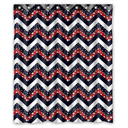 Dark Blue Red and White Star Chevron,Bathroom Mildew Proof Polyester Fabric 60