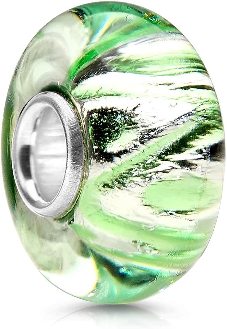 Perle en verre avec douille en argent 925 pour bracelet Materia 1344 Breloque en verre vert//argent