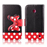 Lumia 635 Case Nokia Lumia 635 Kickstand Case,Tribe-Tiger Minnie Mickey Series Premium Leather[Card Slot][Flip][Stand][Wallet]Cover Case for Nokia Lumia 635(Polka Dot)
