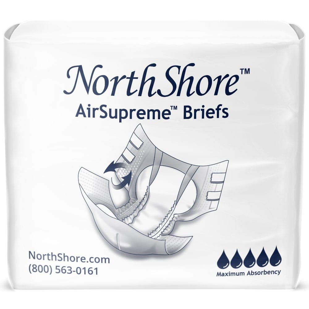 NorthShore AirSupreme Incontinence Tab-Style Briefs, Large, Case/45 (3/15s)