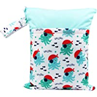 Prettyia Travel Baby Wet and Dry Cloth Diaper Organizer Bag with Two Zippered Pockets - Style 4, as described