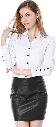 Allegra K Camisa para mujer, manga larga, con botones en los puños y cuello