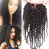Human Hair Lace Top Closure Sunwell Brazilian Virgin Human Hair Closure Bleached Knots Kinky Curly Middle Part 3.5×4 Lace Closure with Baby Hair Natural Color 16inch For Sale