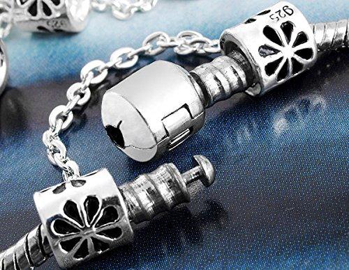 Ecloud Shop® 6 X CHAINE DE SECURITE PLAQUE ARGENT POUR BRACELET 7MM