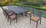 Oakland Living 13 Piece Belmont Aluminum Dining Set, Aged Black