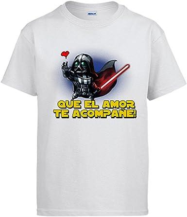 Diver Camisetas Camiseta Que el Amor te acompañe Friki: Amazon.es: Ropa y accesorios