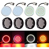 LED 1157 Turn Signal Light DIBMS 2 Inches Bullet Front Rear LED SMD Bulb with Smoke Lens Cover Kit Compatible for Harley…
