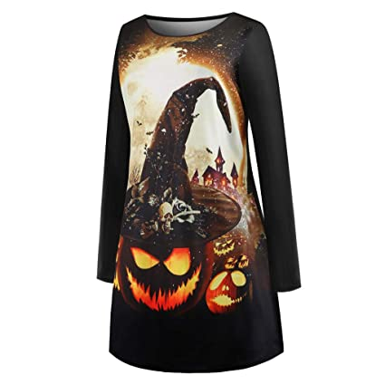 Ladies Halloween Skull Cat Bat Prints Long Sleeve Party Swing Dress Plus Size