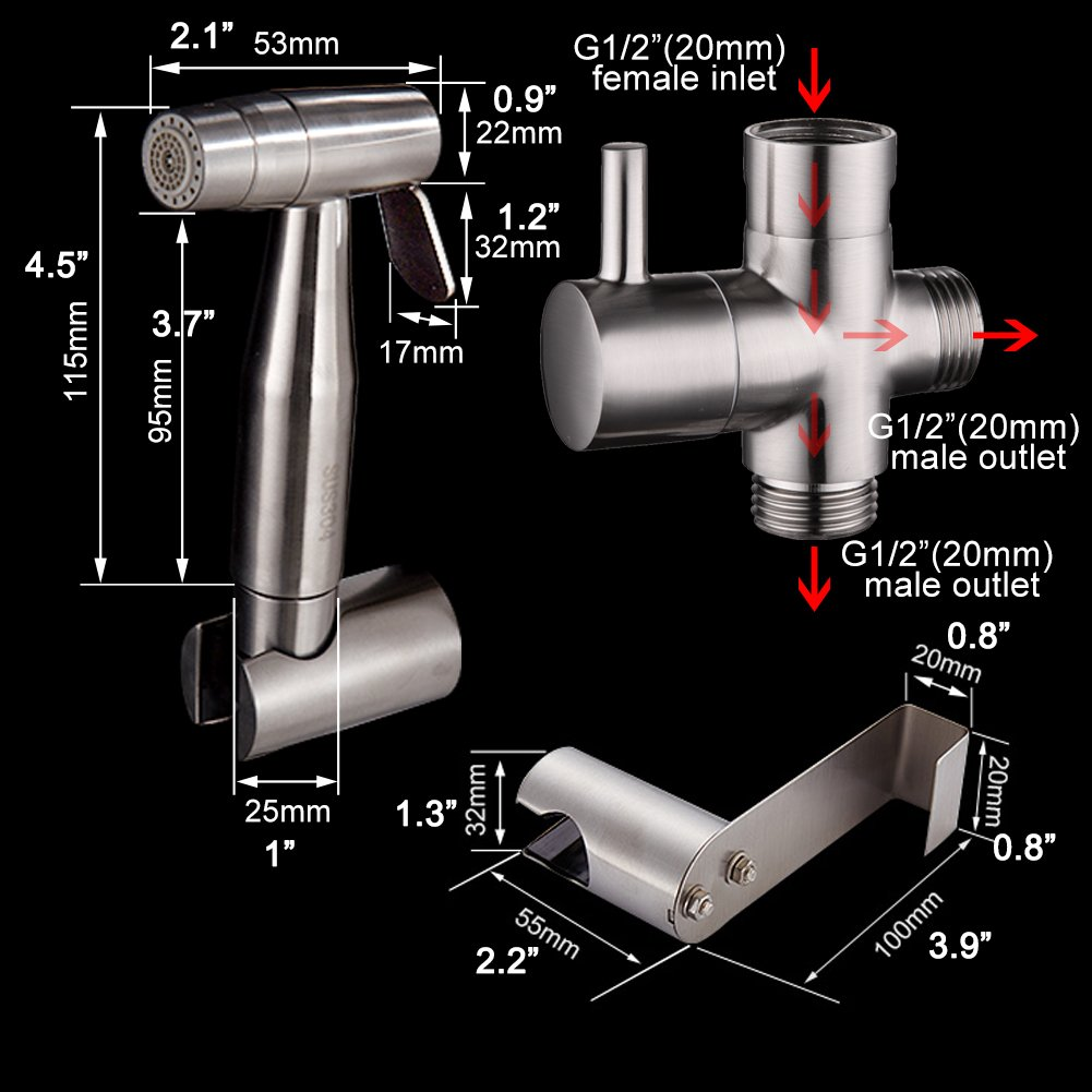 ciencia Hand Held bidet Pulv/érisateur Premium en acier inoxydable pulv/érisateur shattaf/ /Complete bidet Set pour services sanitaires main bidet Pulv/érisateur pour services sanitaires ws024af