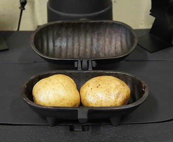 Molde de hierro fundido grande para patatas asadas, para 2 patatas de tamaño mediano, para uso en fuegos de madera y multicombustibles, así como en fuegos ...