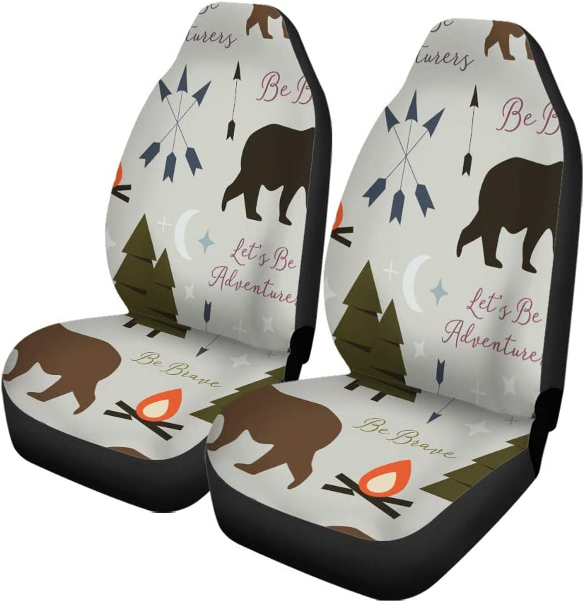 Semtomn Set of 2 Car Seat Covers Ornate Spiritual Symbols Totemic and Mascot Owl Tattoo Embossing Universal Auto Front Seats Protector Fits for Car,SUV Sedan,Truck