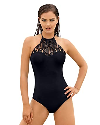 1eac952184e74 Image Unavailable. Image not available for. Color  Hand Made Knitted High Neck  One Piece Swimsuit.
