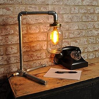 the langmore desk lamp kilner jar new industrial style vintage retro light fitting bed side bar restaurant loft urban farmhouse steampunk pipe