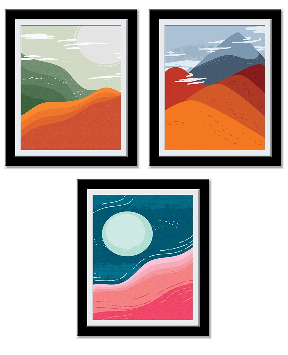 Mountain Dunes Minimalistic - Posters For Room Aesthetic - Abstract Art - Chic Minimalist Decor - Cute, Trendy Art Prints - House warming, Anniversary Gifts For Her - 8X10 Unframed…
