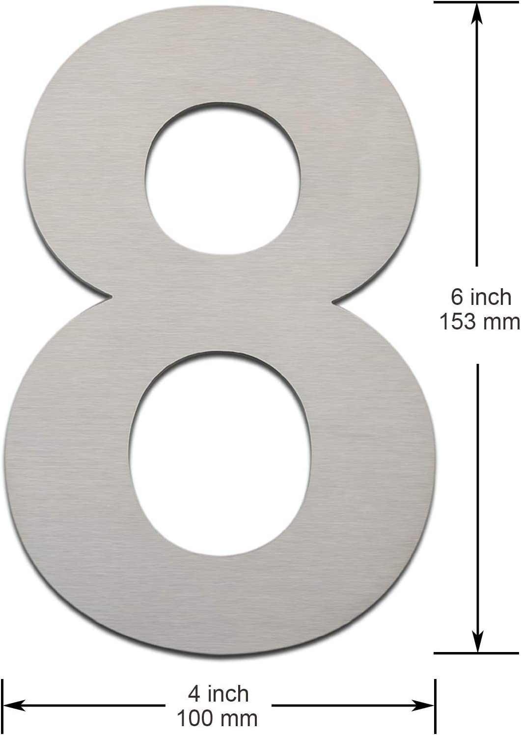 geb/ürstet aus massivem 304 Edelstahl modern Nr. 0 152 mm hoch schwebende Optik und einfache Montage Hausnummer Letter a