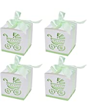BENECREAT Candy Gift Boxes Laser Cut Baptism Favor Boxes with Ribbon for Baby Shower Baptism Decorations Birthday Party Event