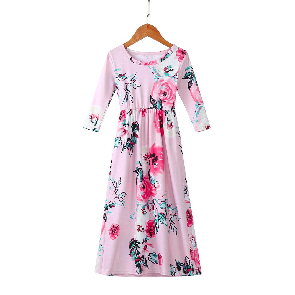 Girls Flower Print Dress 3/4 Sleeve Pleated Casual Swing Long Maxi Dress with Pockets Summer Spring Dresses 2-5Y (Pink, 3T (2-3 Years)) by Cealu (Image #4)