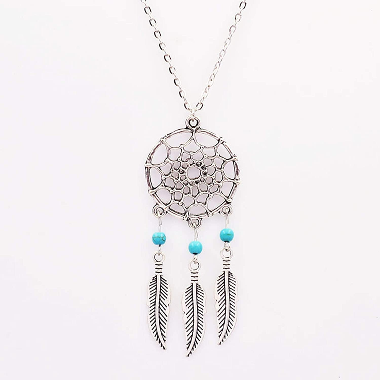 Epinki Silver Plated Bohemia Necklace Silver Turquoise Feather Tassel Dream Catcher Chain Necklace for Women and Girls