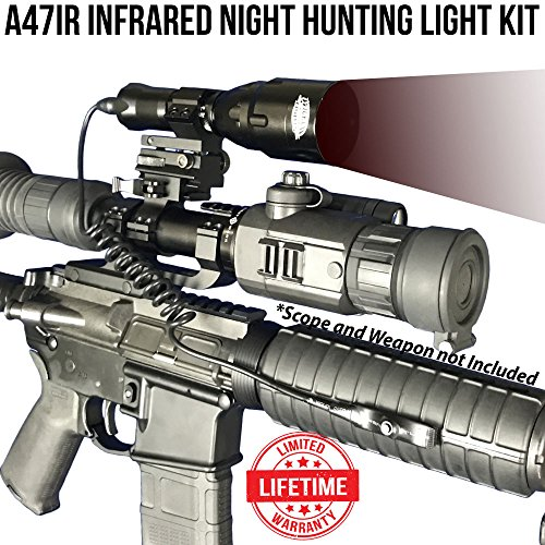 Wicked Lights A47IR Infrared Night Hunting Light Kit With 3-Power Mode LED for use with Night Vision Devices for coyotes, Predators, Varmint & Hog Hunting by Wicked Lights