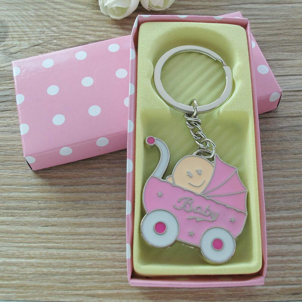 Amazon.com: Baby Shower Stroller Party Favor (12PCS) for Girl Key Ring Recuerdos  de mi Baby Shower de Niña Pink Gift Box: Health & Personal Care