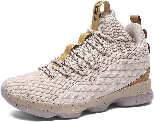 Zapatos de Baloncesto Hombre Mujer Antideslizante Zapatillas Altas Transpirable Zapatos Deportivos Aire Libre Blanco 42