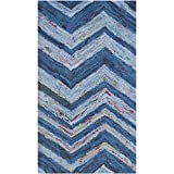 Safavieh Nantucket Collection NAN145A Handmade Blue and Multi Cotton Area Rug, (2-Feet 3-Inch X 4-Feet)