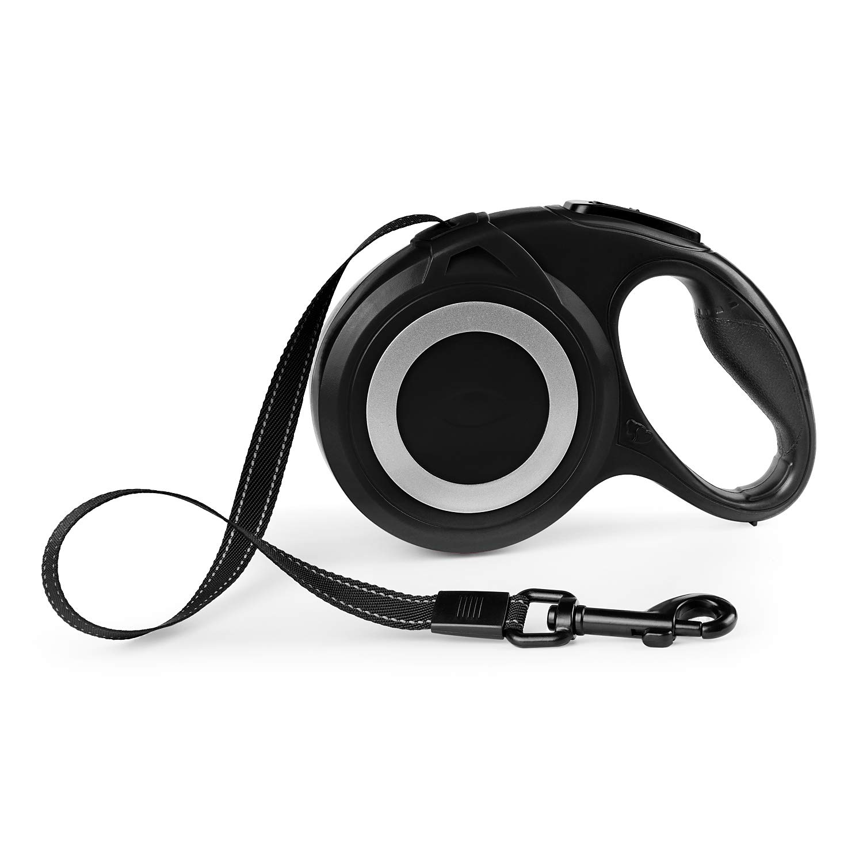 Black Heybrosis Retractable Dog Leash, 16 ft Dog Walking Leash with Anti-Slip Handle and Reflective Ribbon Cord,Tangle Free, One Button Break & Lock Pet Leash (Black)