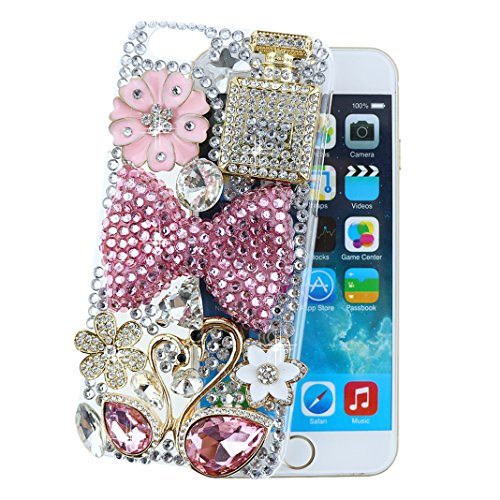 """Ancerson Luxury Golden Flower Perfume Bottle Pink Blossom White Daisy Plum Blossom Silvery Butterfly 3D Handmade Shining Glitter Crystal Diamond Rhinestones Hard Back Case Cover for Apple iPhone 6 (4.7"""") Free with a Red Stylus Touchscreen Pen, a 3.5mm Universal Crystal Diamond Rhinestones Bling Lovely Silvery Flower Blue Panda Pendant Dust Plug and a Cleaning Cloth(Transparent Clear) (Elegant Pink Bow Bowknot Golden Pink Rain Drop Swan Couple)"""
