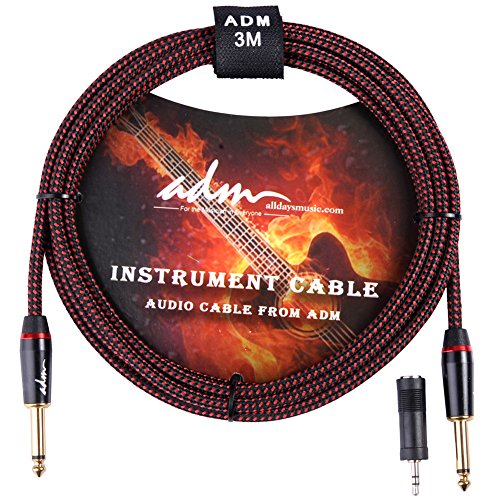 Red Studio Guitar (ADM 10FT 3M Straight to Straight Noiseless Musical Instruments Electric Guitar & Bass Cable, Studio Quality Guitars & Bass Amp Cord, Red/Black Tweed Woven Jacket)