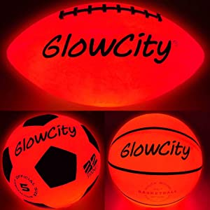 Glow-in-The-Dark Light Up LED Balls – Variety 3 Pack of Official Sized Basketball, and Football, and Size 5 Soccer Ball – Ideal for Glow Parties and Playing at Night – Bonus Spare Batteries