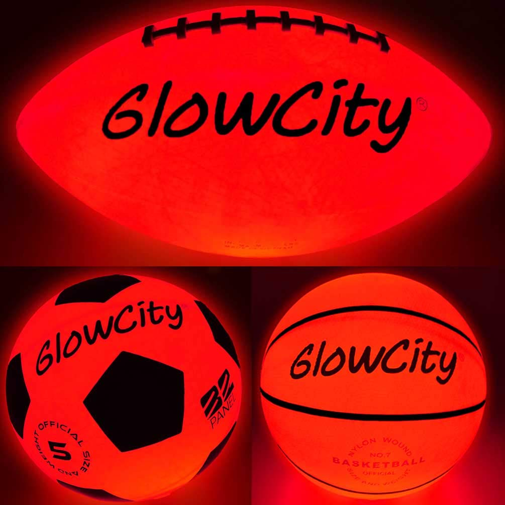 Glow-in-The-Dark Light Up LED Balls - Variety 3 Pack of Official Sized Basketball, and Football, and Size 5 Soccer Ball - Ideal for Glow Parties and Playing at Night - Bonus Spare Batteries