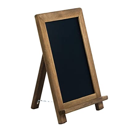 Rustic Wooden Framed Table Top Standing Chalkboard Sign With Non Porous Magnetic Chalk Board Surface