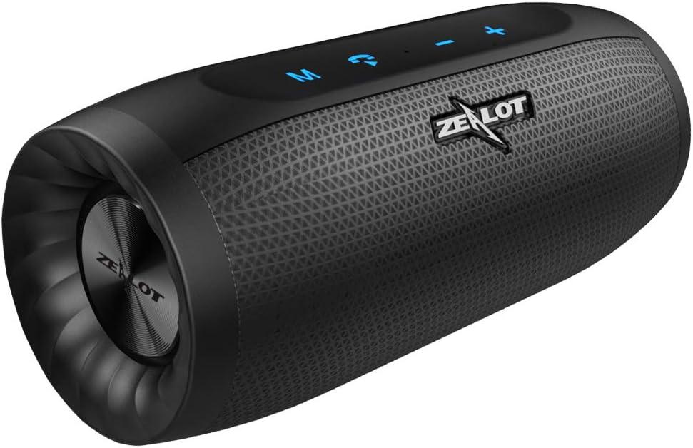ZEALOT S16 Altavoz Bluetooth, Portátil, 20W estéreo, Sonido 360º Envolvente, 2 subwoofers. con Gran batería (función powerbank), 24 Horas de Reproducción. Impermeable IPX7 Manos Libres.