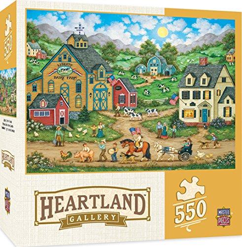 "Price comparison product image MasterPieces Heartland Libery Farm Parade Puzzle (550 Piece), Multicolored, 24"" x 18"""
