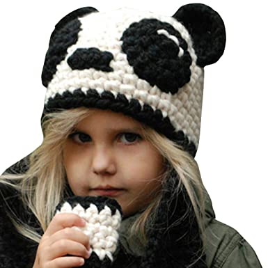 794b3c673 Amazon.com: Queind Kids Autumn Winter Wool Hats Panda Warm Knitted ...
