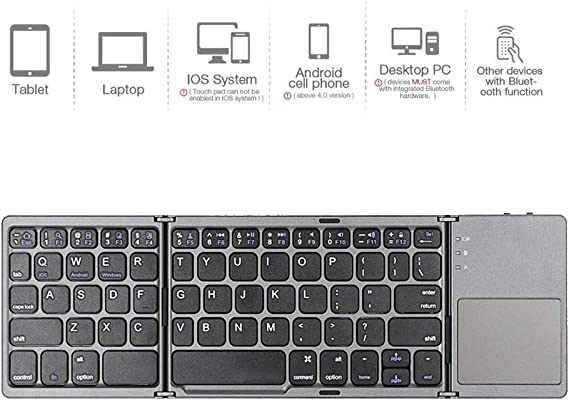 Wireless Flexible Keyboard Pocket Size Mini Rechargeable for iOS//Android//Windows//Mac OS Device,Black LYY Triple Folding Bluetooth Keyboard with Touchpad