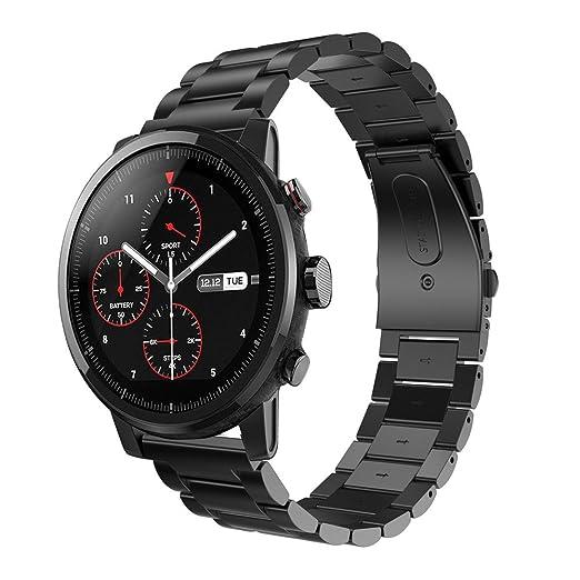 JKfine - Correa para HUAMI Amazfit Stratos 2 - Band de Reloj de Acero Inoxidable Metal Pulsera con Broche para HUAMI Amazfit Stratos 2: Amazon.es: Relojes