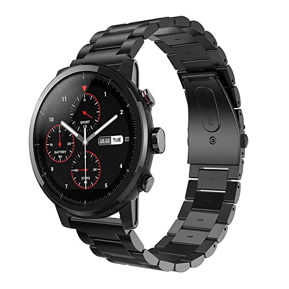 Amazon.com: Stainless Steel Watch Band Strap Metal Clasp for HUAMI Amazfit Stratos 2 BK: Clothing