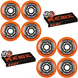 Labeda Asphalt Inline Roller Hockey Wheels 80mm Orange 85A 8-Pack Bones Reds