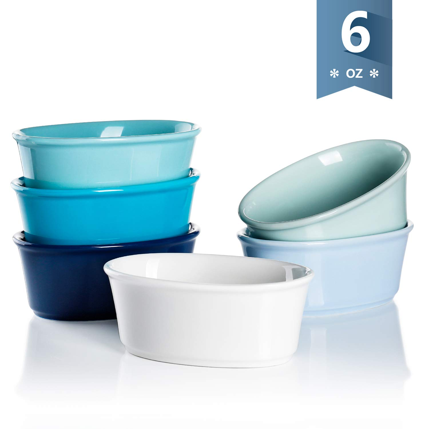 Sweese 506.003 Porcelain Souffle Dishes 6 Ounce, Oval Ramekins for Baking, Set of 6, Cool Assorted Color by Sweese