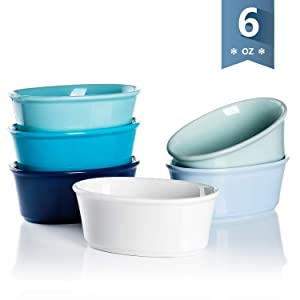 Sweese 506.003 Porcelain Ramekins 6 Ounce Souffle Dishes, Oval Ramekins for Baking, Set of 6, Cool Assorted Color