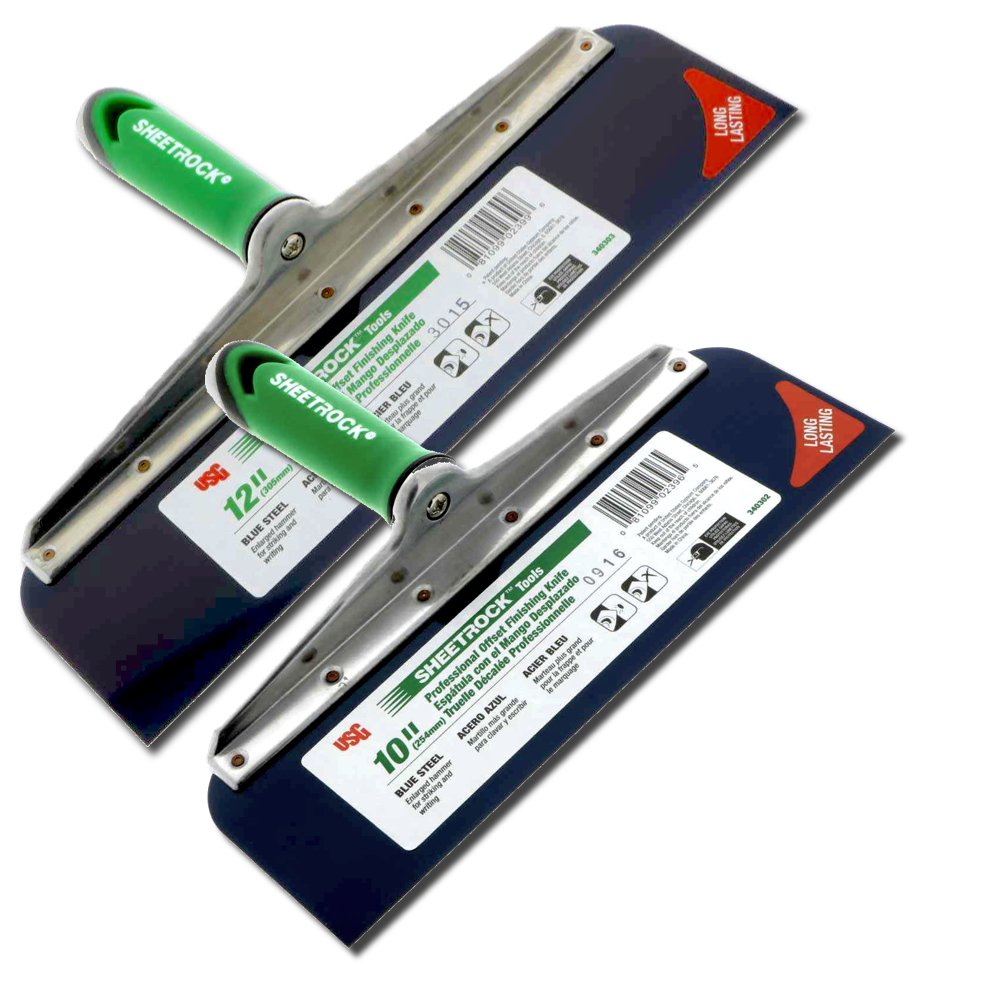 USG Sheetrock 2-Piece Offset Drywall Taping Knife Set - 10'' and 12'' w/Blue Steel Blade