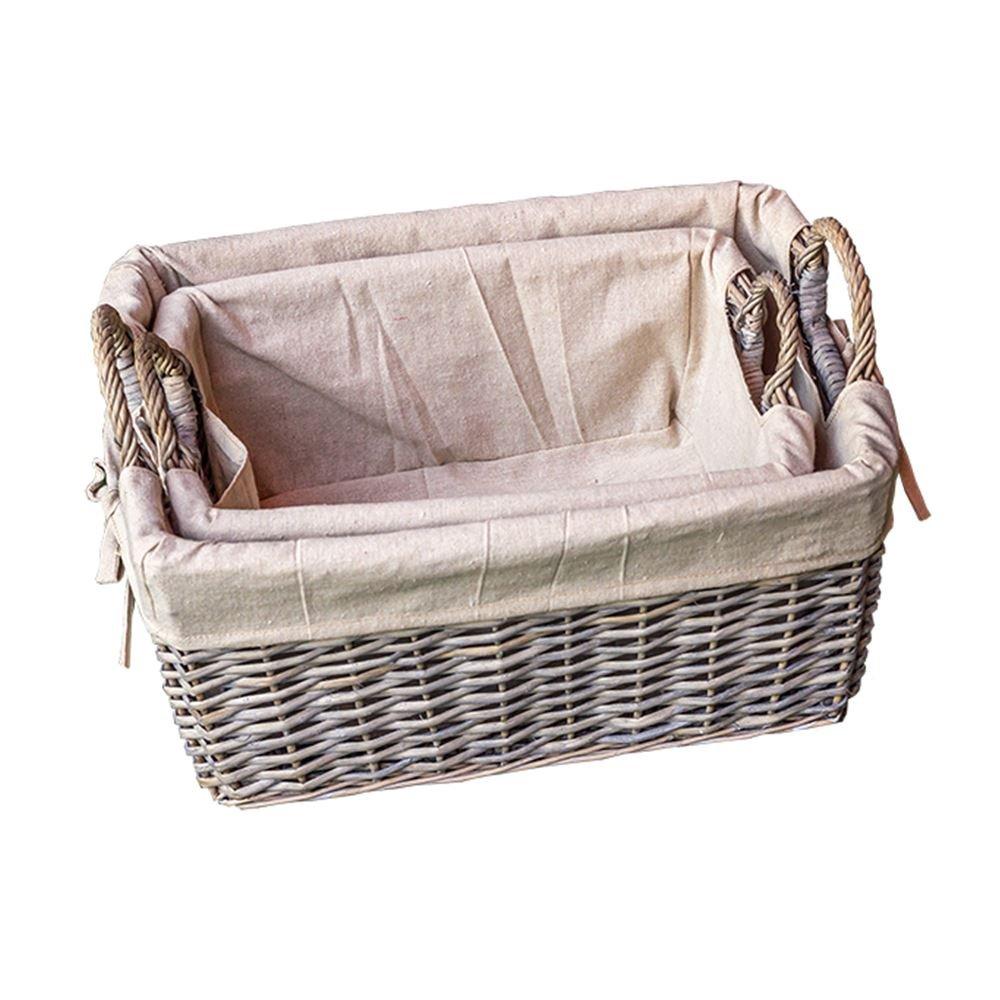 Set of 2 Provence Liner Wicker Storage Baskets